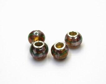 4pcs Lampwork Glass Beads, European Beads, Beading Supplies, Jewelry Supplies