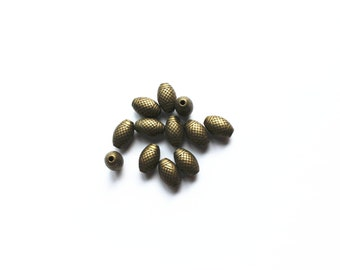 10pcs Antique Brass Tone Base Metal Beads 9mm x 15mm, Brass Beads, Jewelry Findings, Beading Suppliers, Jewelry Suppliers
