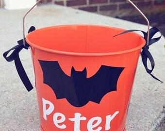 Halloween Bucket Orange with Bat