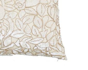 Ivory Gold Velvet Pillow Velvet Cushion Handmade Wedding Gift Decorative Pillows For Couch Velvet Throw Pillow Covers on Sale