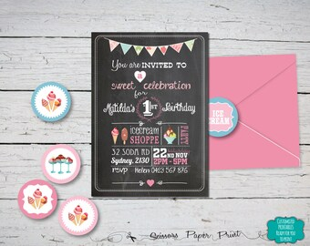 Ice Cream First Birthday Invitation Printable, Chalkboard for first birthday, Cute Chalk Board Ice Cream Shoppe, Ice Cream Parlour