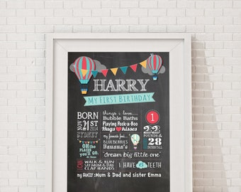 """First Birthday Hot Air Balloon Chalkboard Poster  Billboard, Milestone Poster, Birthday Boy """"Oh the places you'll go"""" """"Dream Big Little One"""""""