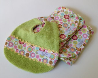 SALE! Baby Burp Cloths-Set Includes Two Burps and One Bib-For Baby Girl