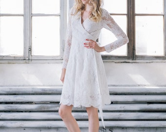 Short lace wrap dress with long sleeves, Annabel