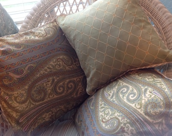 Pillow covers, green paisley, scroll stitch back,  leaf print, diamond stitch back, zip close, celery green, cream rope trim,
