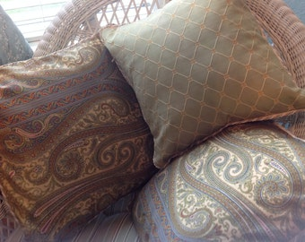 Pillow covers set of 3 green paisley scroll leaf print