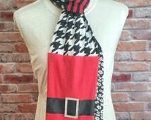 Christmas Scarf for Woman - Black and White Houndstooth Scarf - Teacher Gift for Christmas - White Elephant Gift - Holiday TShirt Scarf