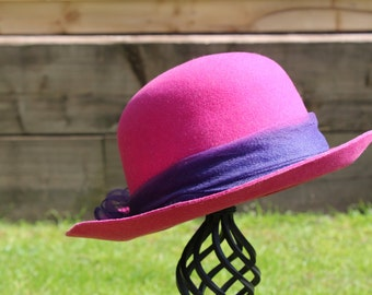 Edward Mann 1960's Felt Wide Brimmed Hat with Chiffon Bow Detail.