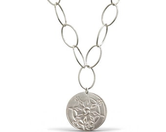 Compass Chain Link Necklace - Sterling Silver