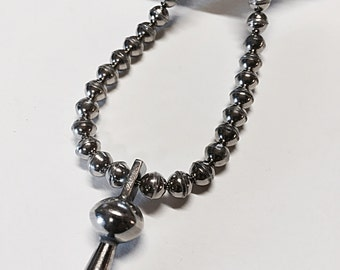 Sterling Silver Bead and Squash Blossom Necklace
