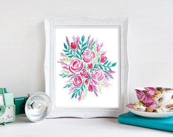 Rose and Teal Flower Bouquet - Watercolor Art Illustration Print