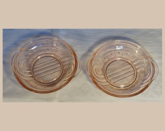 Two Rosalin pressed glass, Art Deco desert plates, vintage depression glass