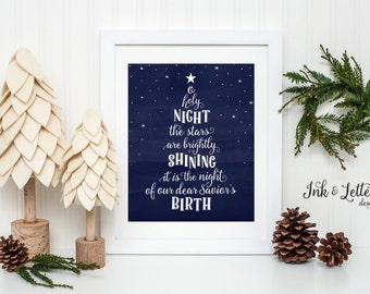 O Holy Night Sign - Christmas Art Print - Christmas Wall Art - Holiday Home Decor - Christmas Decorating Ideas - Instant Download - 8x10