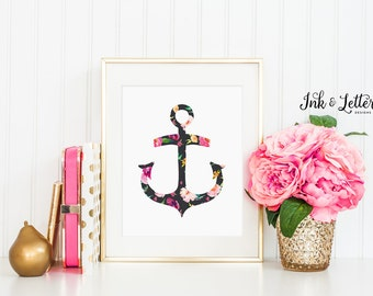 Floral Anchor Print - Pink Nursery Decor - Nautical Nursery Decor - Nautical Bathroom Decor - Anchor Printable - 8x10 - Digital Printable