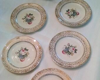 Salem 23 K Gold Floral and Gold Dessert Plates - Set of 6