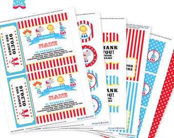 Circus Party - Invitation & Decorations Kit - Printable Carnival First Birthday Party Package - Instant Download - Editable Text