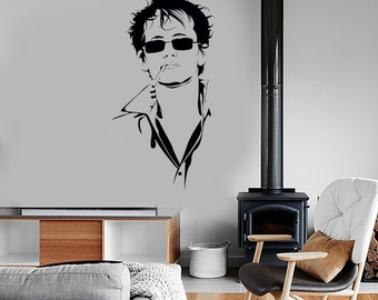 Wall Vinyl Handsome Guy In Glasses Dark Haired Cool Decal Mural Art 1636dz
