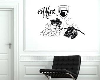 Wall Vinyl Decal Bottle Of Wine Glass Grape Guaranteed Quality Decor 2059di