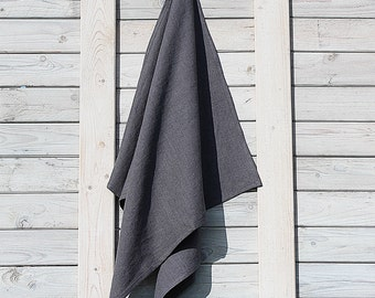 Linen bath / hand / face towel. Graphite. Hand made by LinenSky.
