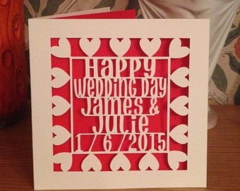 Papercut - Personalised Happy Wedding Day Card - Wedding Card - Gay wedding Card - Lesbian Wedding Card - Personalized Card -