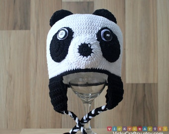 Crochet Panda Hat, Bear Hat, Handmade Baby Beanie Ear Flaps, Photo prop