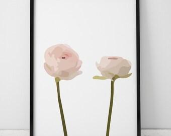 Minimalist Pink Ranunculus INSTANT DOWNLOAD Illustration Art, Pink Printable Art, Minimalist, Illustration Artwork, Digital Art, Ranunculus