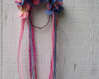 Flower Crowns//Floral Headband// With Ribbon// Blue and Pink