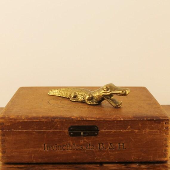Vintage brass aligator bottle opener brass crocodile vintage - Alligator bottle opener ...