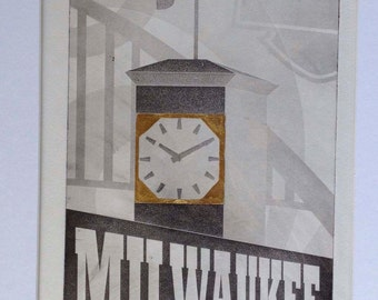 "Hand printed photogravure ""Allen Bradley"" clock tower"