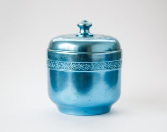 Jewelry box, vintage turquoise box, metal jewelry box, treasury box, trinket jewelry box, jewelry storage