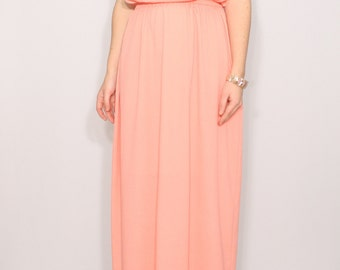 Peach Bridesmaid dress Long dress Chiffon dress Prom dress Keyhole dress