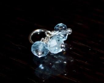 Blue Topaz Pendant Trio- Charm Dangle Beads - Sterling Silver - Genuine Gemstone - December Birthstone