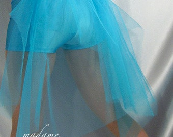 Spandex shorts hot pants Bustle tutu skirt Turquoise