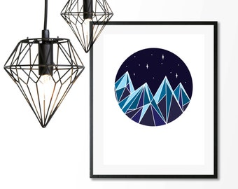 Geometric Snow Mountains, Downloadable Print, Modern Art, Printable Art, Instant Download, Geometric.