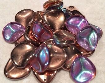 Rose Petal Beads, 14x13mm, Crystal Copper Rainbow, 00030-98533, 25 Beads, Czech Glass