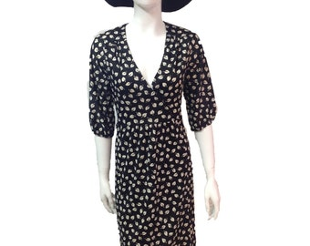 Vintage 70s leaf print wrap dress black and white