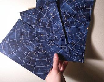 Original Sky Map Watercolor Blue Constellations Artwork Custom