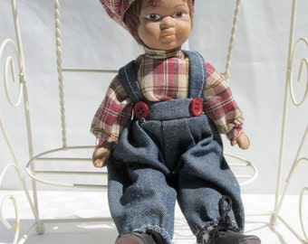 Vintage African-American Boy Doll on Swing