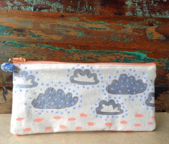 Pencil Case - Makeup Bag - Beige Cotton Purse - Handmade Pencil Case / Makeup BagSilver clouds #makeforgood pencil case/makeup bag
