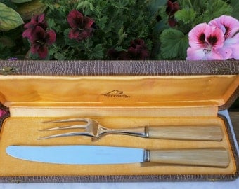 French Vintage Art Déco Set with a knife & a fork in case of origin Apollonox-Vintage Art Déco Service à découper écrin d'origine Apollonox