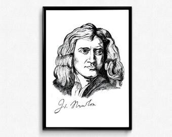 Isaac Newton Art Print - Scientist Print Isaac Newton Portrait Ink Drawing - Science Poster/ Physics poster - Classroom Wall Art Decoration