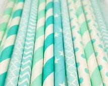Turquiose straw variety. Diamond party supplies. Bridal shower straws. Aqua straws. Baby shower. Baby sprinkle decor. Engagement ring theme