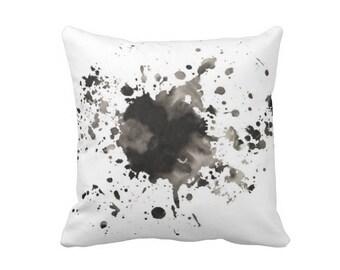 Splatter pillow, Paint Splatter, Modern art pillow, Watercolor pillow, Painted pillow, Black white pillow, Accent pillow, Minimal pillow