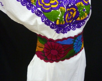 mexican dress mexican peasant dress mexican dress, mayan, vintage huipil M-L, E45