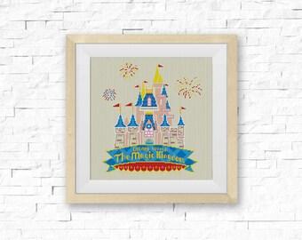 BOGO FREE! Disney Castle Cross Stitch Pattern, Disney World Cross Stitch Chart, Needlecraft Embroidery Needlework PDF Instant Download #037