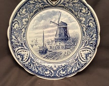 Vintage Delfts Wall Plate Royal Sphinx Maastricht Made in Holland Golden Crown E & R 1886 Windmill Ship