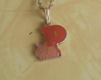P is for Piggy Cloisonne Pig Necklace