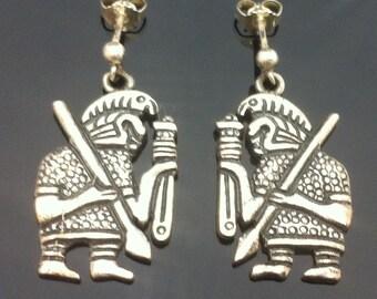 Vintage Sterling Silver Aztec Mayan Warrior Earrings ET801