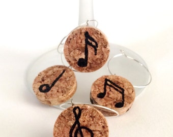 Hand-Painted Wine Cork Wine Glass Charms