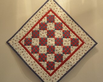 Red White and Blue Patchwork Quilted Wallhanging or Tabletopper 16 x 16 Free Shipping